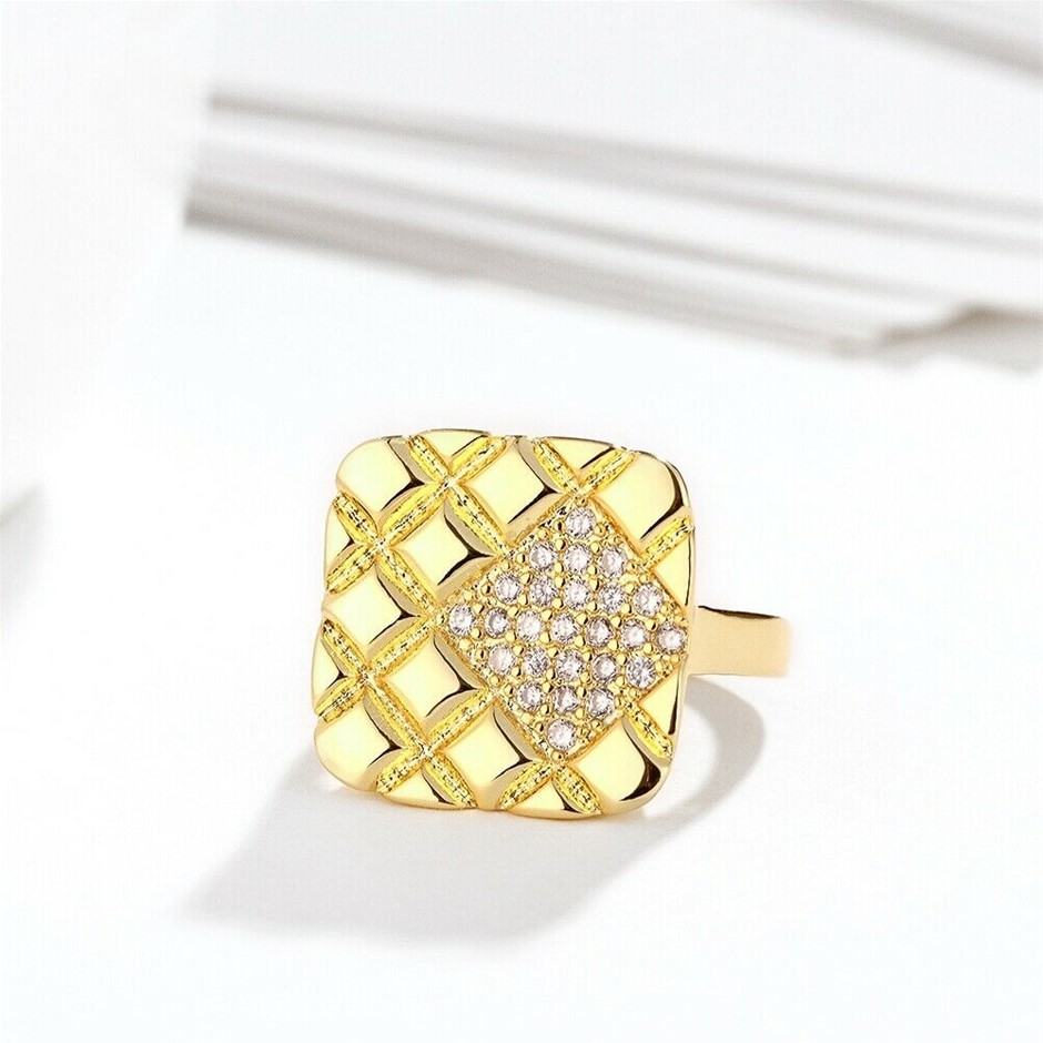 Classic 18k Yellow Gold plated Square CZ Woman Ring Size7