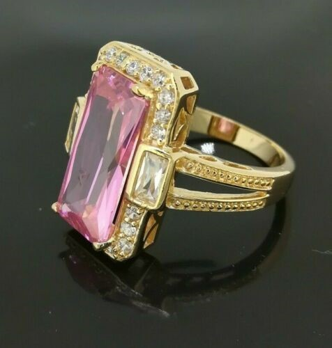 Classic 18k Yellow gold plated Rectangle CZ Woman ring Sz8