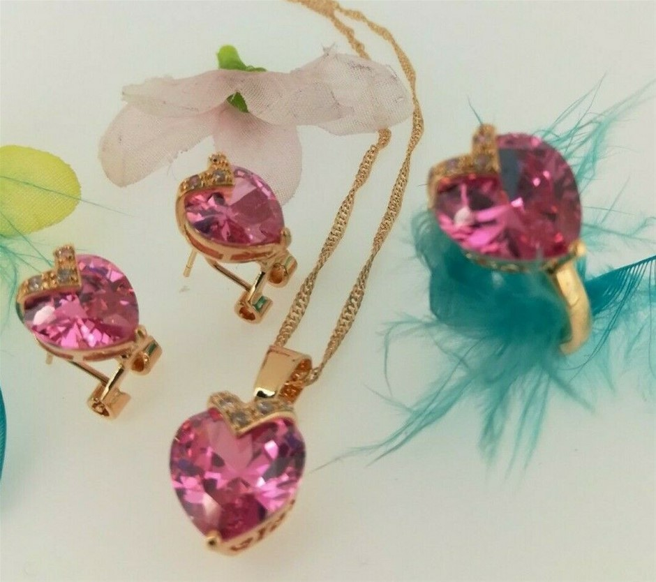 18k Yellow Gold plated Heart Pink CZ Necklace Earrings Ring Sets