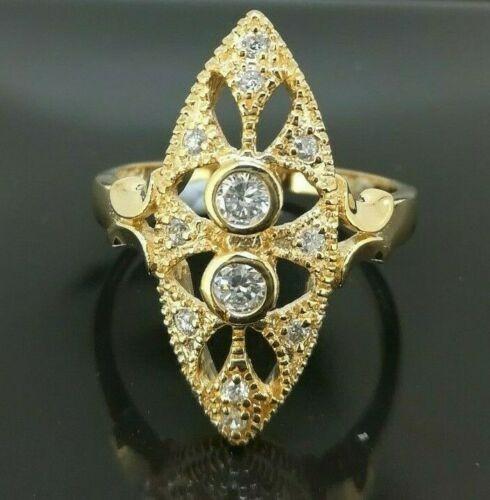 Classic 18k Yellow Gold plated Filigree CZ Woman Wedding Ring Size8