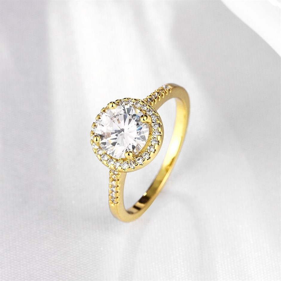 Classic 18k Yellow Gold plated Ring CZ Woman ring Size7