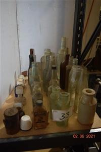 Lot of 32 Antique/Vintage Glass Bottles,