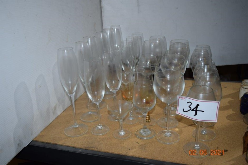 Lot of 35 Assorted Wine Glasses and Flutes