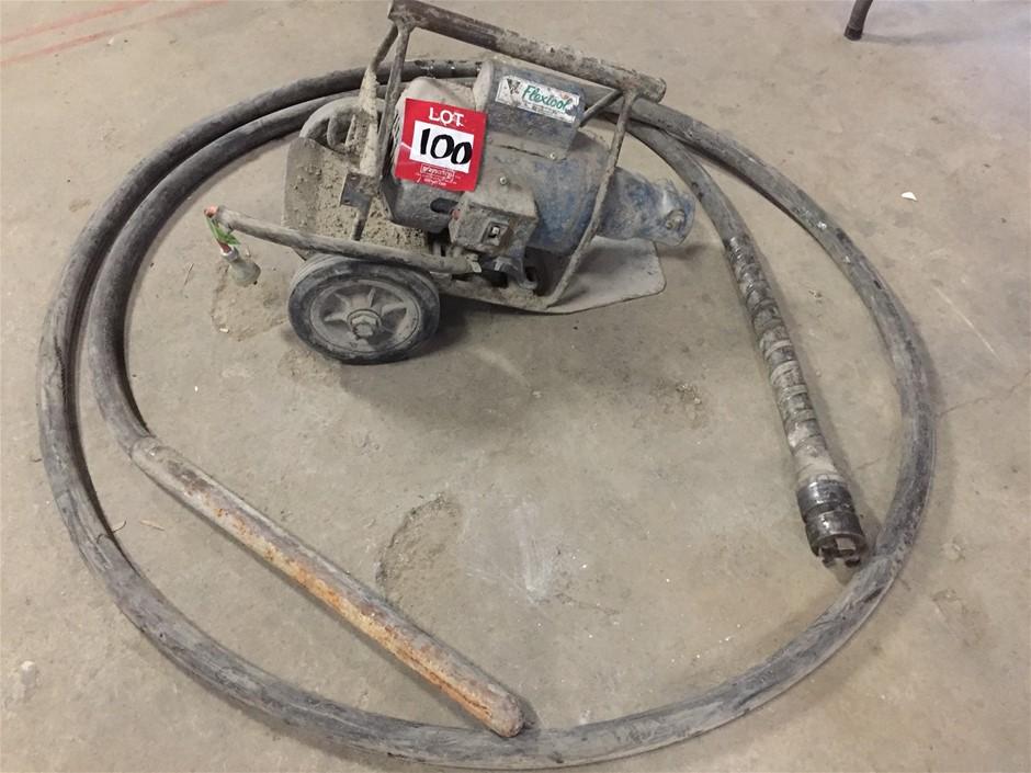 Flextool concrete vibrator, 240v, 6 meter flexshaft, needle 38mm diameter.