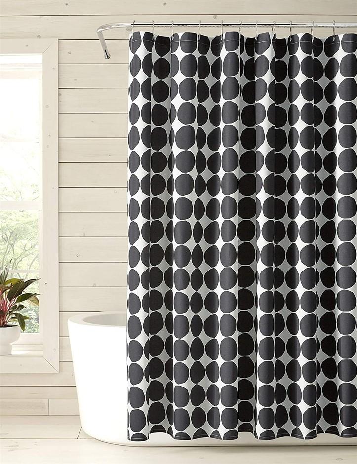 MARIMEKKO Pienet Kivet Shower Curtain, 182.9 x 182.9cm, Colour: Black/White
