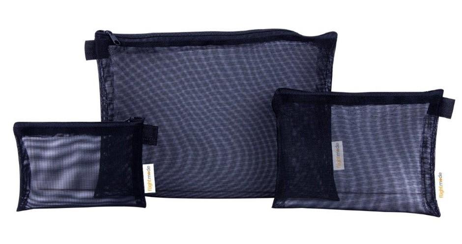 3 Pieces Mesh Bag Set in Black