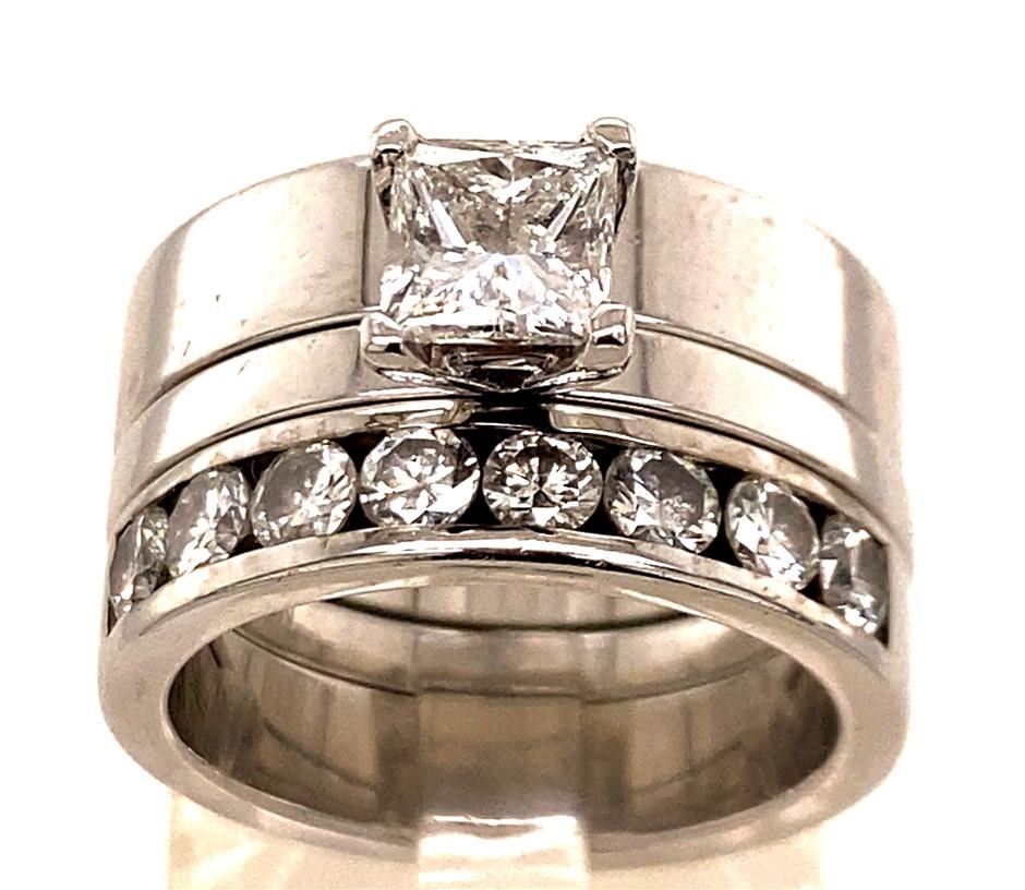 18ct white gold diamond 2 ring set