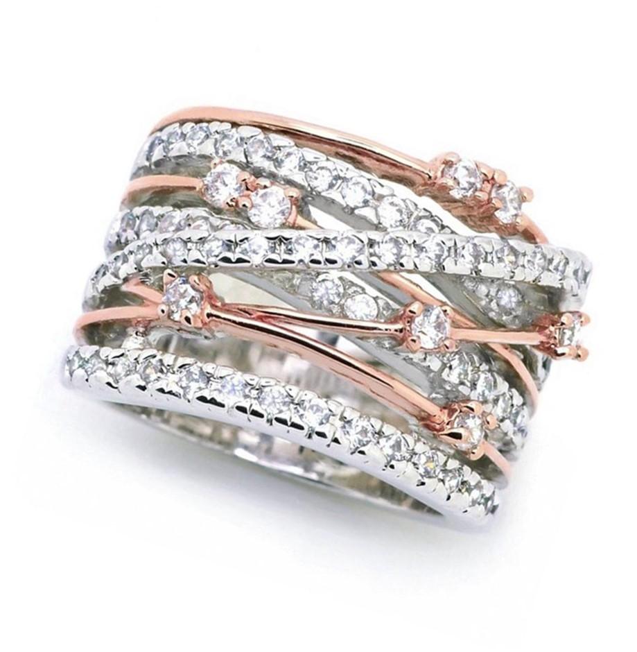 Designer Simulated Diamond Statement Ring (Rose & White) - US Size 9