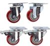 Set of 4 Heavy Duty Swivel Castor Wheels 75mm Urethane Wheels, 2 with Brake