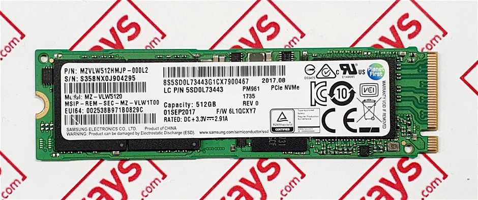 SAMSUNG PM961 512GB M.2 NVMe 2280 PCIe Gen 3x4 Solid State Drive