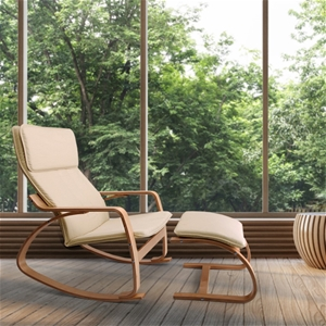 Artiss Wooden Armchair with Foot Stool -