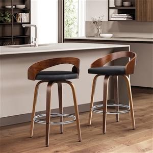 Artiss Set of 2 Wooden Bar Stools - Blac