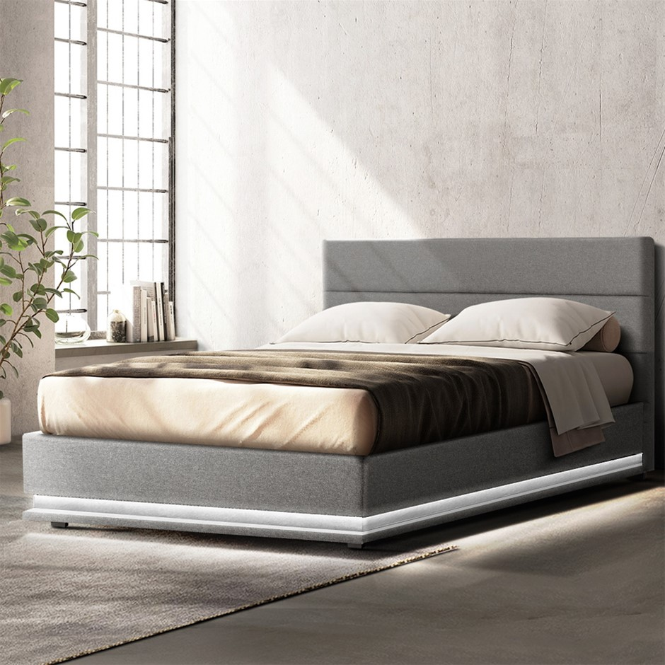 Artiss RGB LED Bed Frame Queen Gas Lift Base With Storage Grey Fabric LUMI
