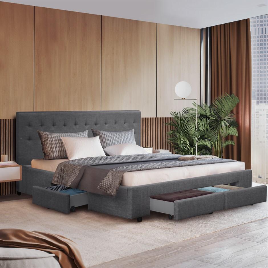 Artiss Queen Size Bed Frame 4 Storage Drawers AVIO Fabric Headboard Wooden