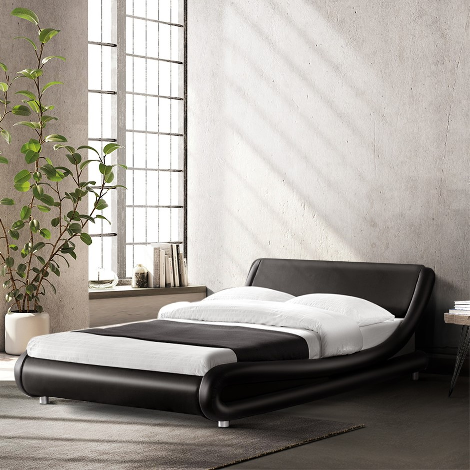 Artiss King Size PU Leather Bed Frame - Black
