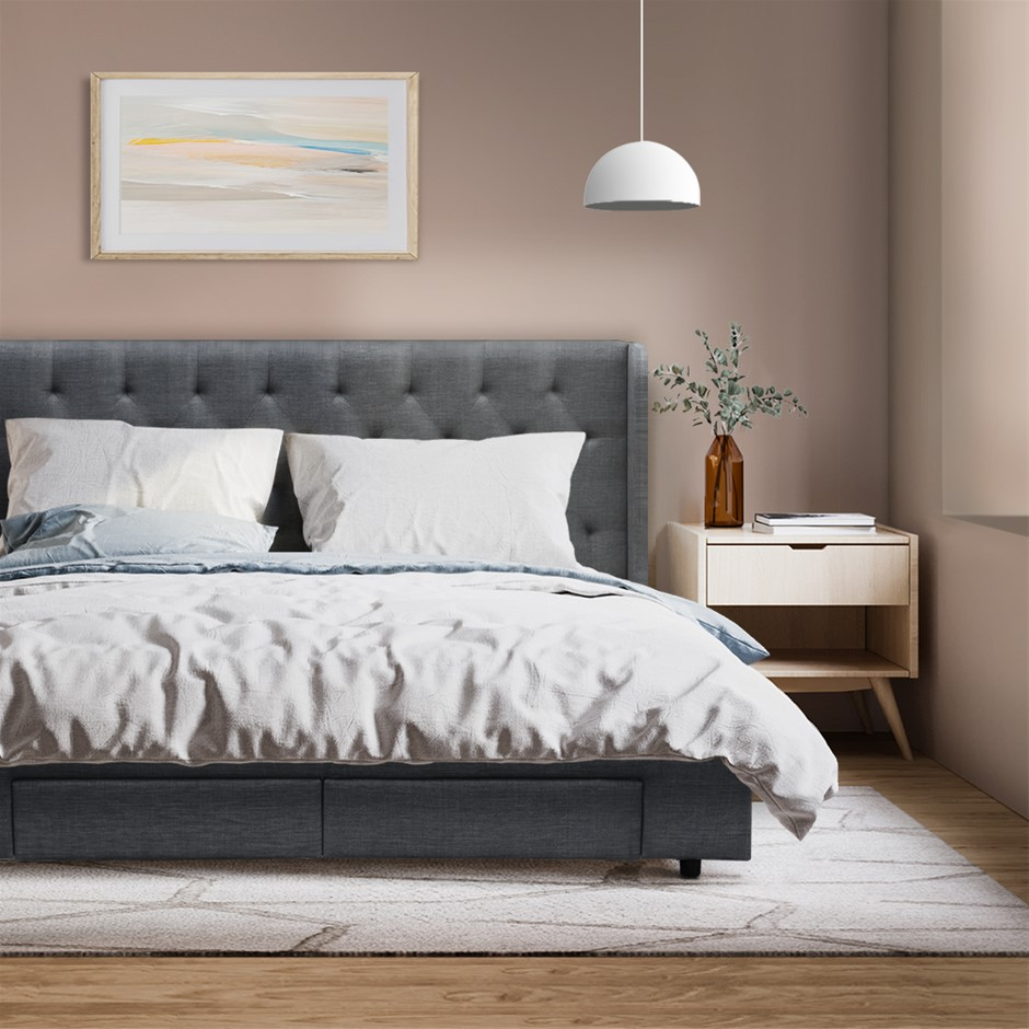 Artiss Double Full Size Bed Frame Base Mattress With Drawer Grey