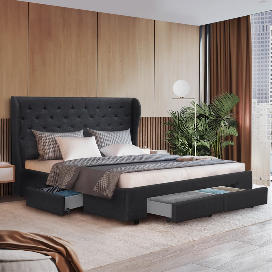 Artiss King Size Bed Frame Base Mattress With Drawer Charcoal
