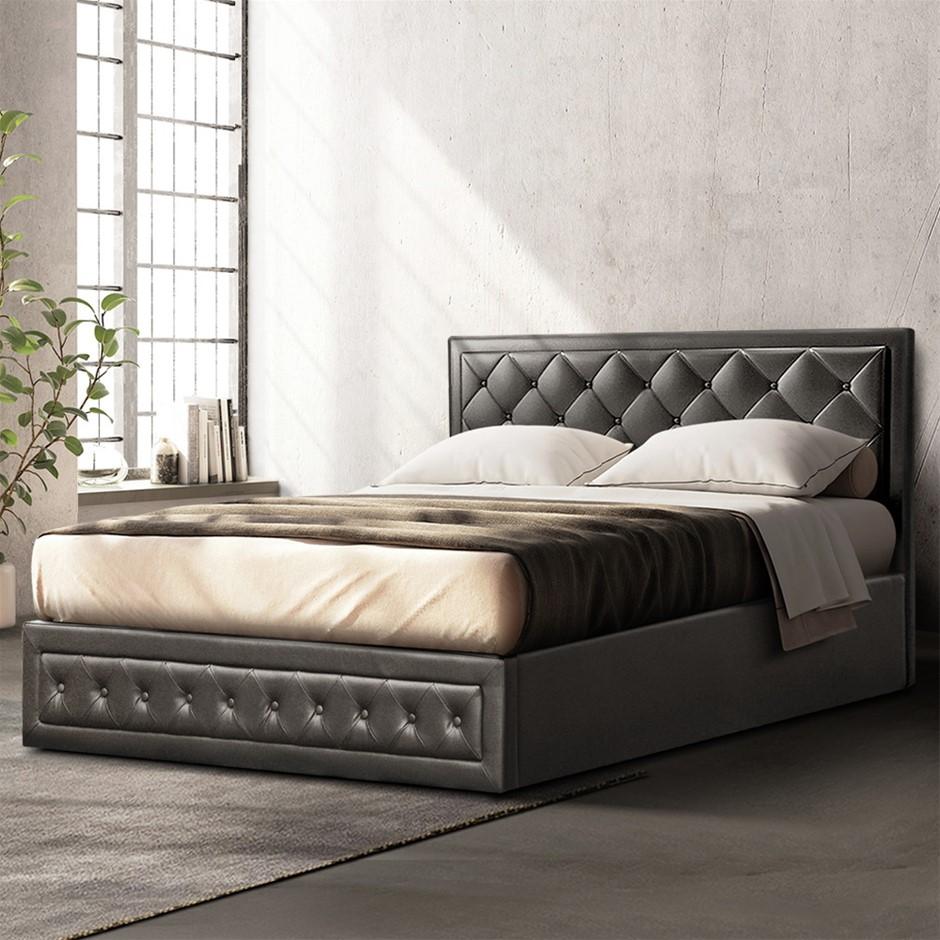 Artiss TIYO King Gas Lift Bed Frame Base Storage Mattress Black Leather