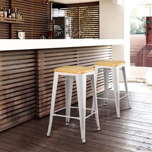 Artiss Set of 2 Metal and Bamboo Bar Sto
