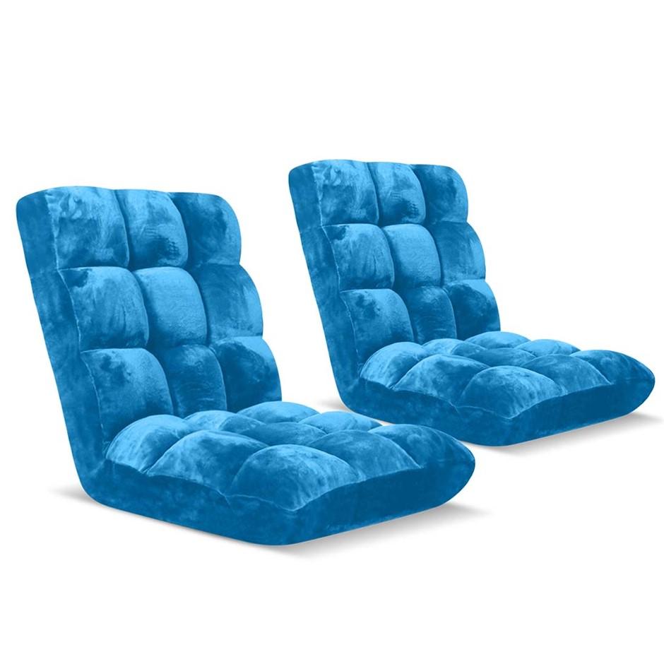 SOGA Floor Recliner Folding Lounge Sofa Futon Couch Chair Cushion x2