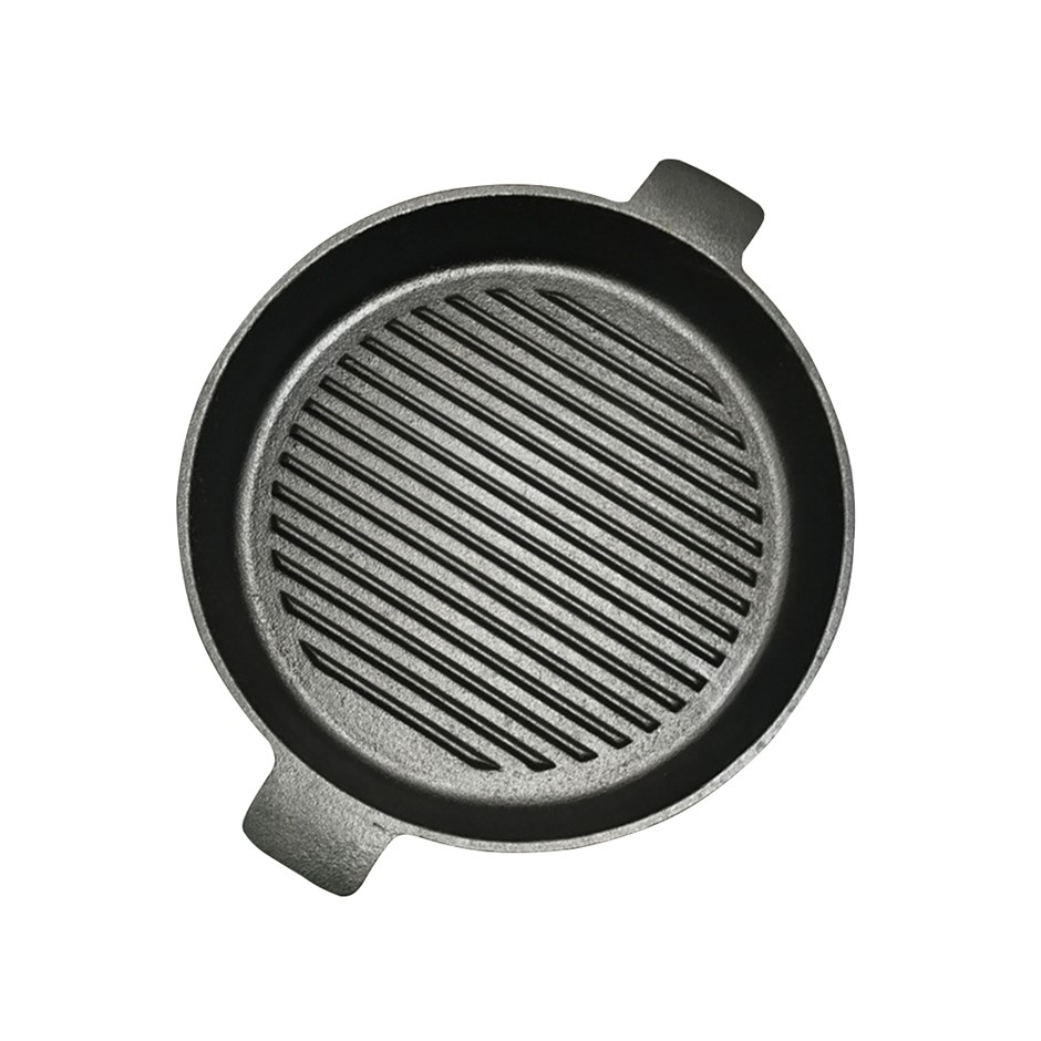 SOGA 25cm Round Ribbed Cast Iron Frying Pan Skillet Non-stick w/ Handle
