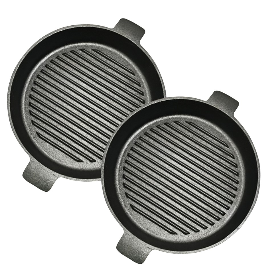 SOGA 2X 25cm Round Ribbed Cast Iron Frying Pan Skillet Non-stick w/ Handle