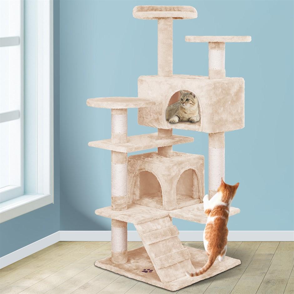 BEASTIE Cat Tree Scratching Post Scratcher Tower Condo House Wood 132cm