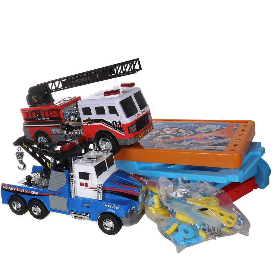 3 x Assorted Car Toys & Race Set Comprising: HOT WHEELS, FIRE TRUCK & More.