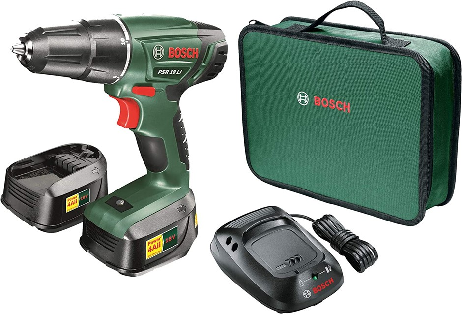 BOSCH 18V Drill Driver Kit c/w 2 x 1.5Ah Batteries and Charger in Soft Car