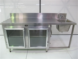 Stainless Steel Preparation Bench Fridge with Sink hand Basin 1800 x ...