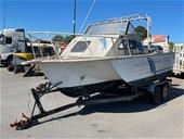 Triple Hull Boat Stessel Power Boat & Custom Boat Trailer