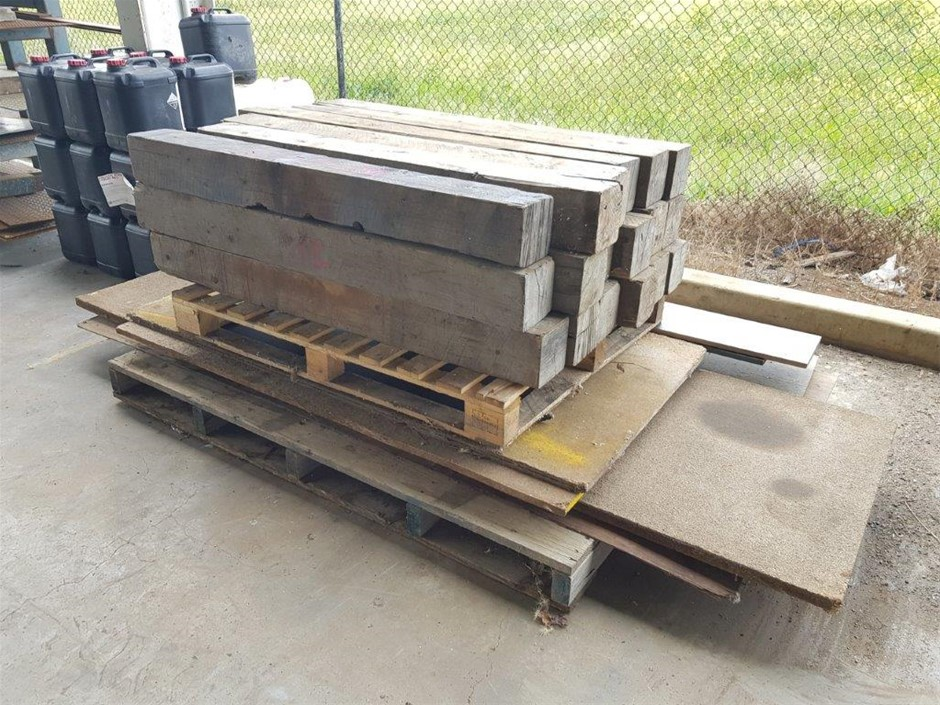 Pallet of Assorted Timber Sheets and Wooden Blocks