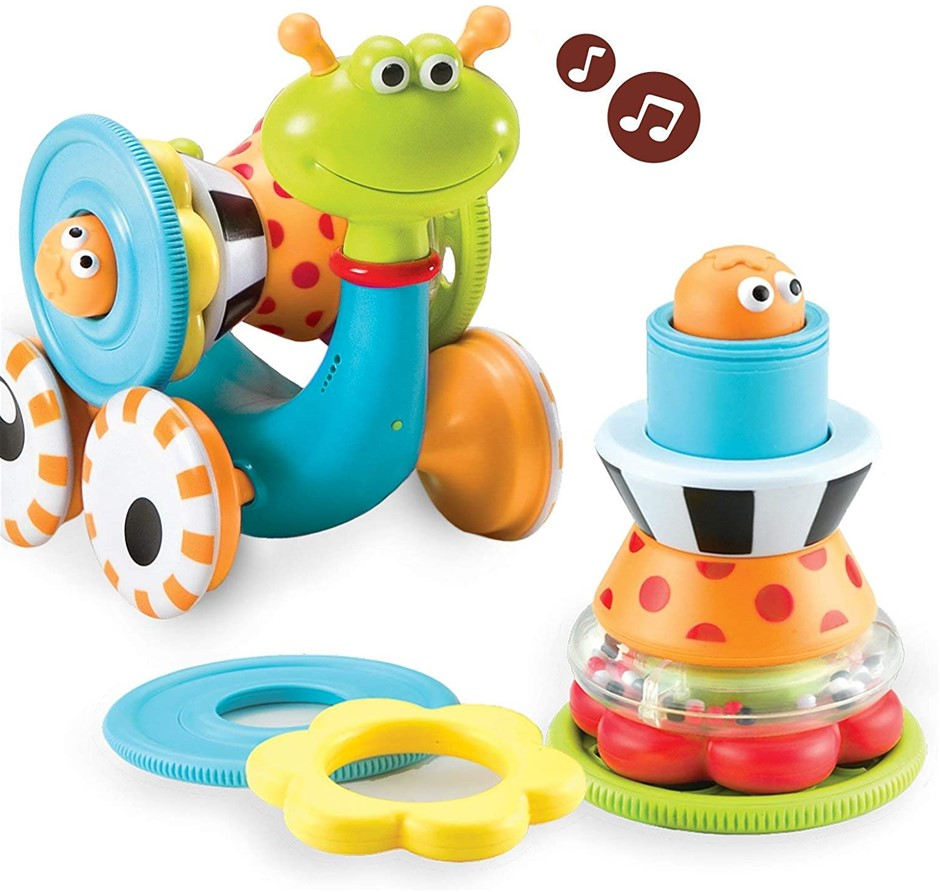 YOOKIDOO 40113 Crawl N Go Snail Baby Toy, Ages 6 - 24 Months. NB: Slightly