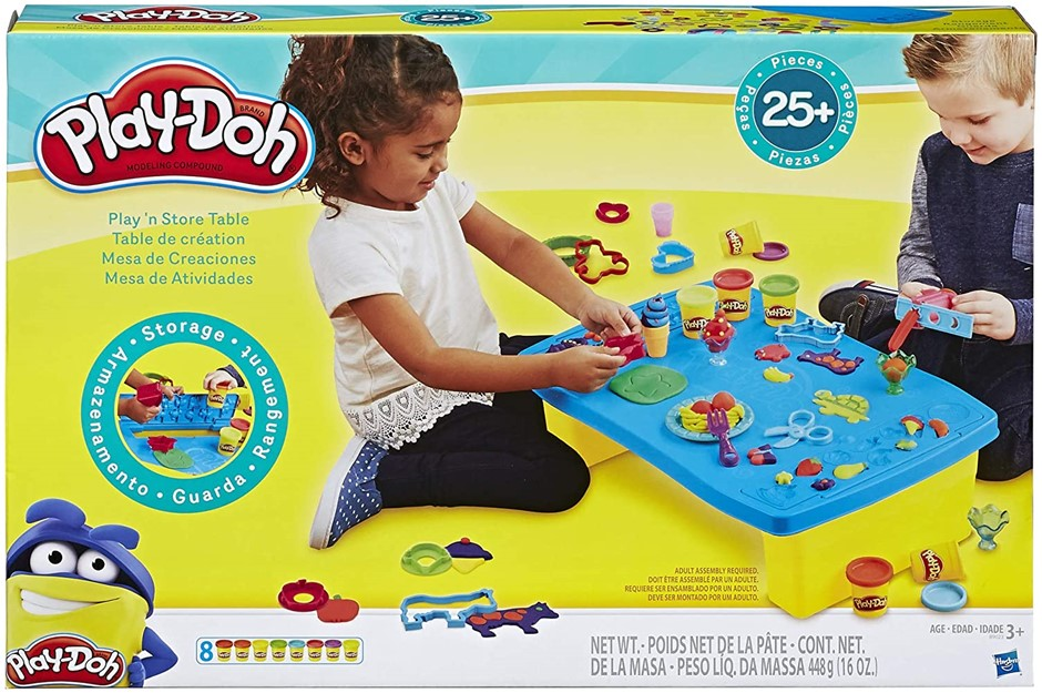 HASBRO Play-n-Store Table, Sensory and educational Toys For Kids, Ages 3+.