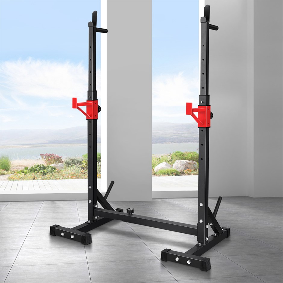 BLACK LORD Adjustable Squat Rack Fitness Weight Lifting Barbell Stand Gym