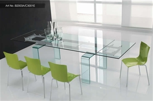 Italian Design Glass Top Extension Dining Table With
