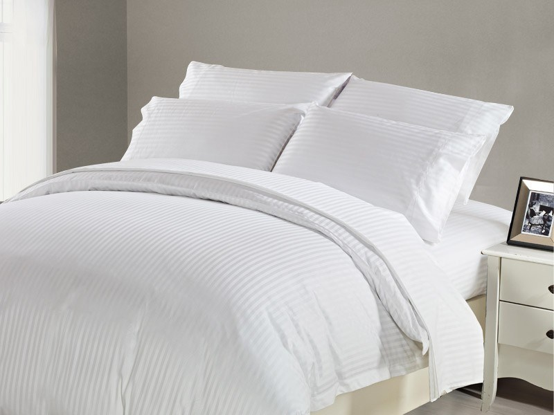 1200 TC Flat Sheet Double White Stripe