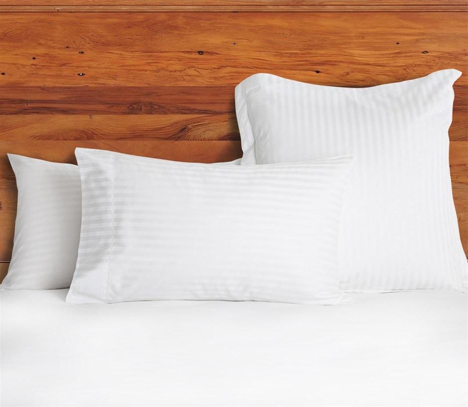 1200 TC European Pillow Cases White Stripe x 2