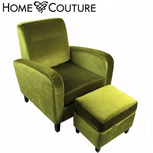 Buy Home Couture Armchair & Ottoman - Green Velvet ...