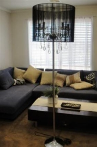 Modern crystal chandelier floor lamp black auction graysonline modern crystal chandelier floor lamp black mozeypictures Images