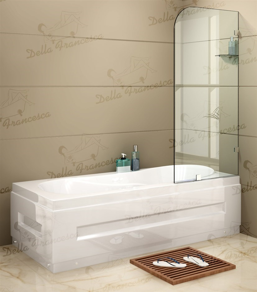 700x1450mm Frameless Bath Panel 10mm Glass Shower Screen By Della Francesca