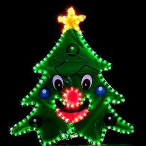 Solar LED Christmas Tree w Face Rope Light Display