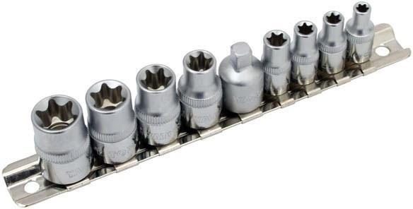 YATO 9pc Torx Socket Set, Sizes: 1/4``,- E5, E6, E7, E8, 3/8``- E10, E12, E