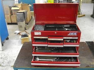 jbs 9 draw toolbox contents of tools auction 0101 7001004 graysonline australia. Black Bedroom Furniture Sets. Home Design Ideas