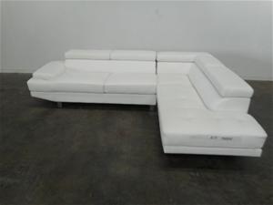 Pleasing Conrad Corner Chaise Lounge Leather White Machost Co Dining Chair Design Ideas Machostcouk