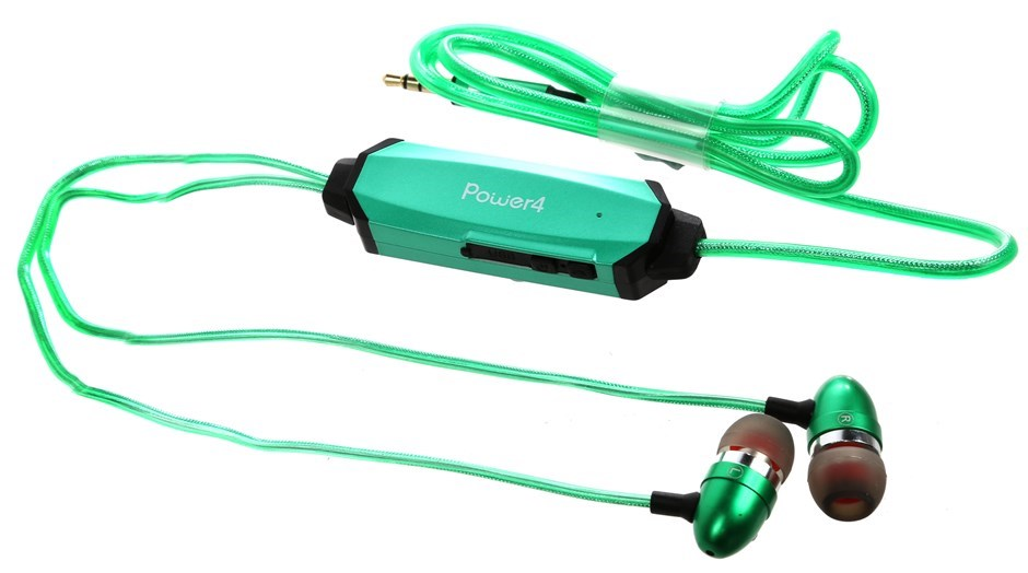 POWER4 Flashing Stereo Earphone, Green/Green Flashing Light Cable that Flas