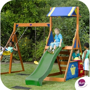 Plum Impala Wooden Climbing Frame Outdoor Play Centre With Double Swing