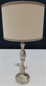 Silver Cream Tall Bedside Lamp With Silver Stand And Cream